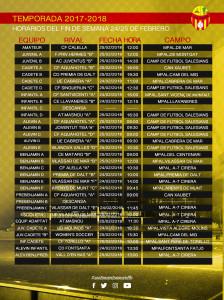 horarios 24 y 25 Febrero